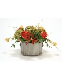 Mixed Rust, Gold and Green Peonies, Hydrangea and Tulips in a Bronze Oval Metal Planter