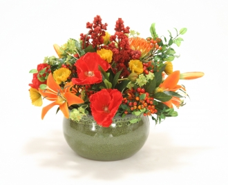 Orange, Red and Gold Garden Mix in Medium Green Earthenware Planter