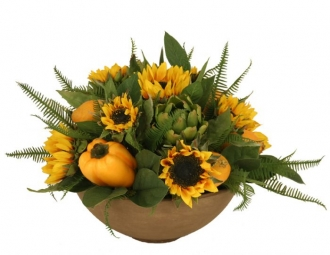 Silk Sunflowers with Lemons, Peppers and Artichokes Desk Top Plant in Bowl