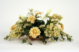 Silk Lilies, Dahlias, Hydrangeas and Spirea in Low Tray