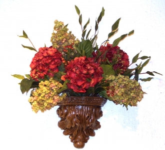 Dark Red and Light Green Hydrangeas with Berries in Wall Pocket