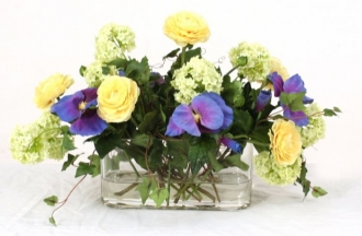 Waterlook (R) Blue, Green, and Yellow Spring Mix In Oval Glass Vase