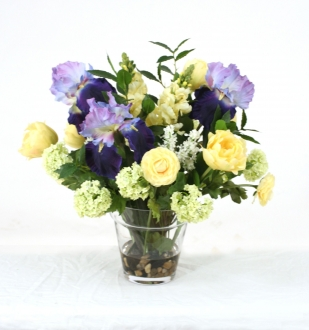 Waterlook (R) Blue, Ivory, Yellow, Green and Cream Mix In Glass Flower Pot Vase