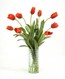 Waterlook (R) Dark Red Orange Tulips In Light Green Ribbed Vase
