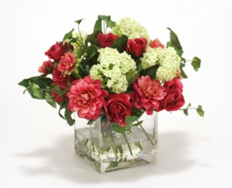 Waterlook (R) Fuschia Dahlia and Roses, cream Green Snowballs in Glass Cube