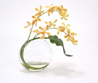 Waterlook (R) Gold Vanda Orchids with tropical leaf in Disk Vase