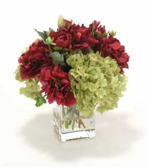 Waterlook (R) Green Hydrangea and Burgundy Peonies