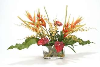 Waterlook (R) Heliconia, Orchid Tropical Mix in Glass Cylinder