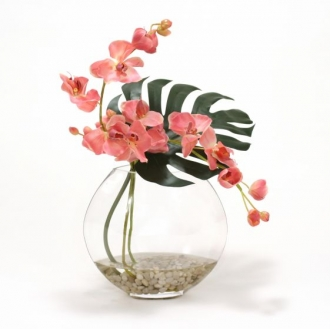 Waterlook (R) Mauve Orchid and Split Philo Leaf in Glass Disk Vase
