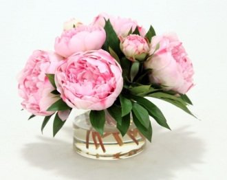 Waterlook (R) Pink Peonies, Ranunculus in Glass Vase