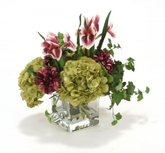 Waterlook (R) Plum Zinnias and Irises, Green Hydrangeas in Square Glass Vase