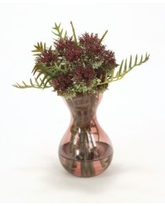Waterlook (R) Thistle and Schrefilea Foliage in Glass Vase