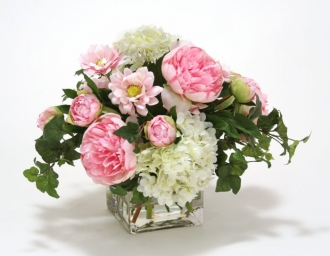 Waterlook (R) White Hydrangea , Pink Peonies and Daisy in Square Glass Vase