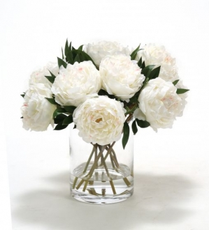 Waterlook (R) White Peonies in Glass Cylinder
