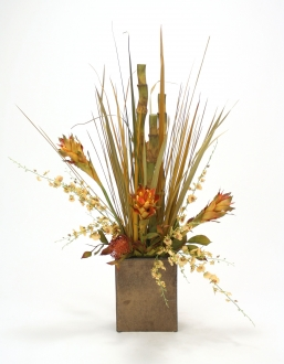 Tropical Mix of Rust, Sage, Grasses in Rectangular Crystal Bronze Planter