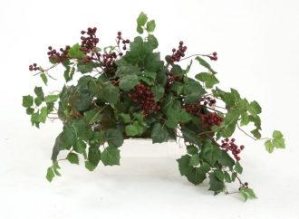 Danica Ivy, Galax Leaves, Burgundy Wild Berries Topper On Tray