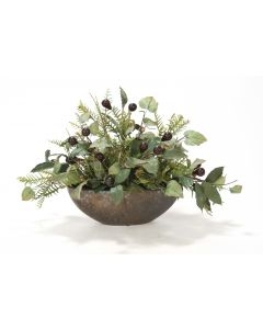 Schrefilea and Olive Branch and Berries in Crystal Bronze Vase
