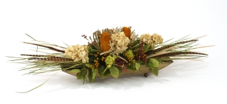 Peegee Hydrangeas, Grass and Natural Product in Gold Oval Planter