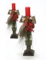 Woodland Treasure - Pair of 23' Dressed Wooden Candlesticks (Candles Not Included)