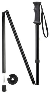 Back country hiker folding walking stick