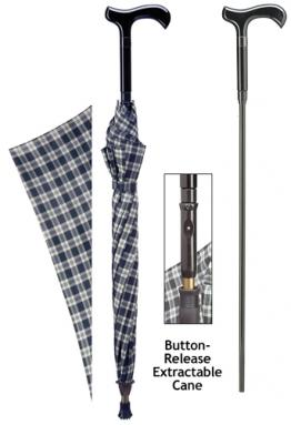 Cane umbrella with blue and black plaid
