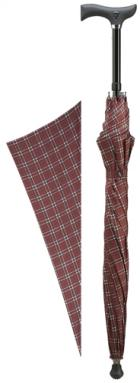 'Step-Brella' Adjustable cane umbrella. Burgundy