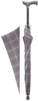 'Step-Brella' Adjustable cane umbrella. With Grey & Burgundy pattern.