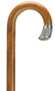 Maple crook handle cane with cherry finish and alpacca silver nose cap