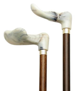 White Marbleized Right Hand Walking Cane