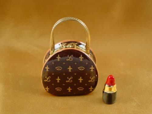 Designer purse with lipstick