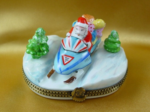 Santa on snowmobile