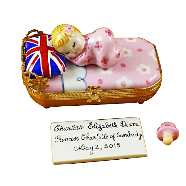 PRINCESS CHARLOTTE OF CAMBRIDGE SLEEPING - INCLUDES PLAQUE AND PACIFIER
