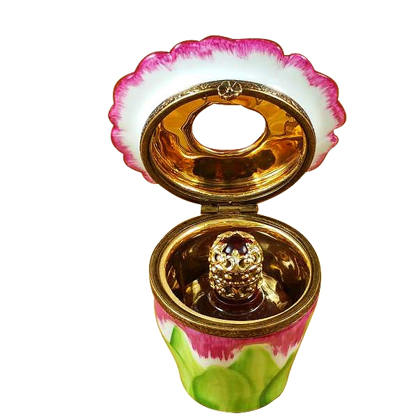 Pink flower w/perfume bottle