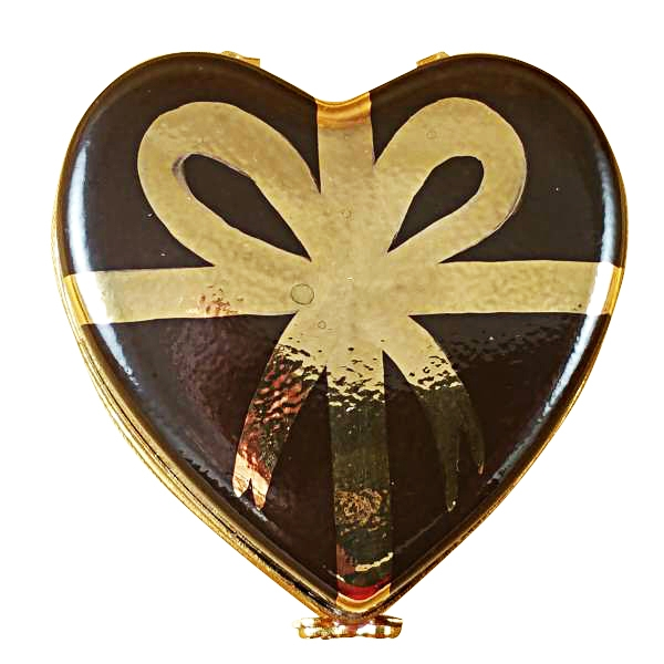 CHOCOLATE HEART W/GOLD BOW