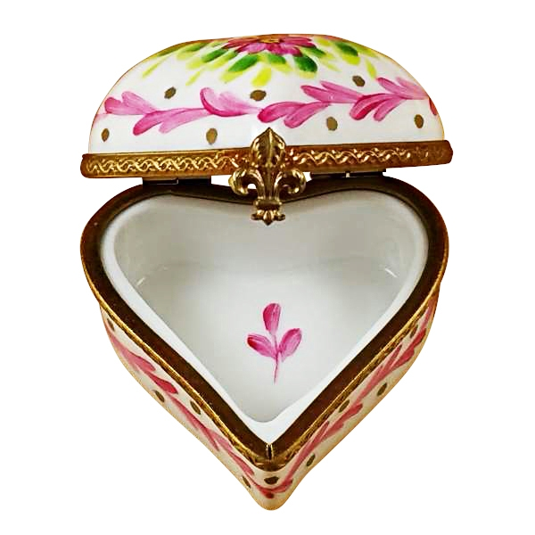 Heart with pink trim & flowers