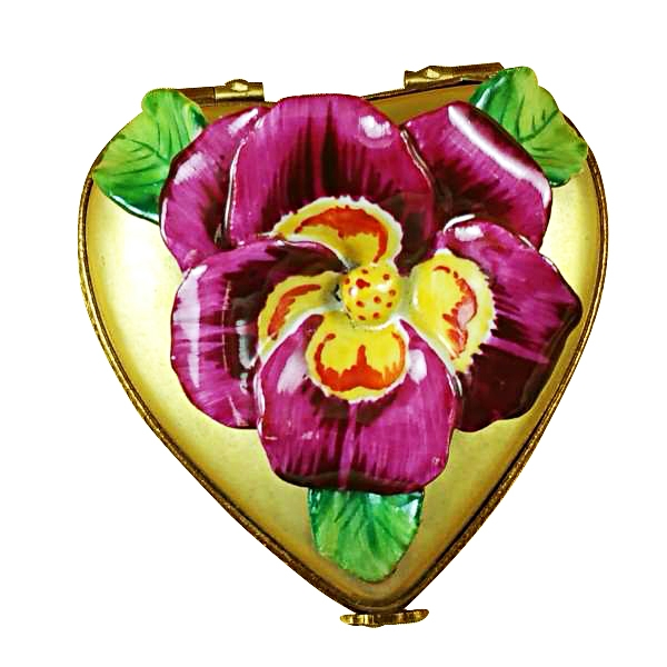 Pansy on gold heart