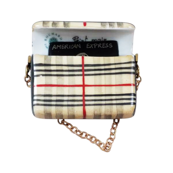BURBERRY PURSE WITH BLACK AMERICAN EXPRESS CREDIT CARD