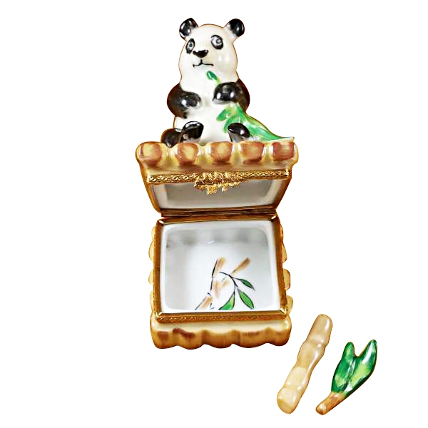 PANDA WITH REMOVABLE BAMBOO AND GREEN LEAF BRANCH