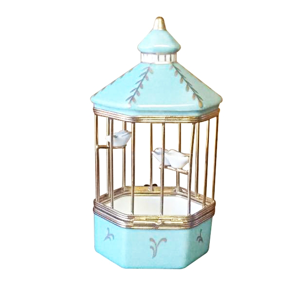 TIFFANY BLUE BIRD CAGE WITH 3 GOLD BIRDS