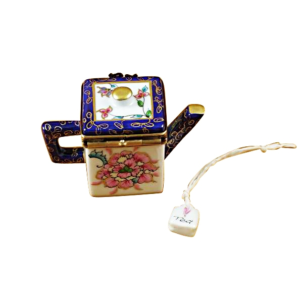 Square teapot w/blue spout & handle