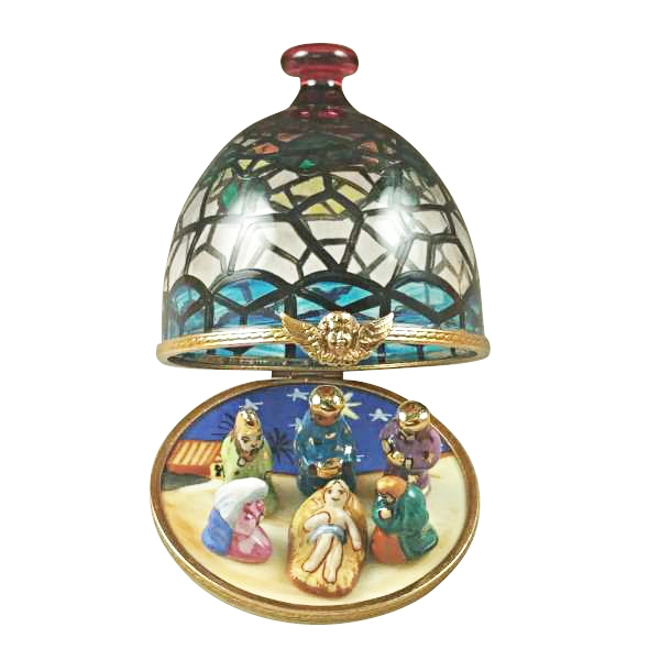 STAINED GLASS DOME WITH NATIVITY INSIDE