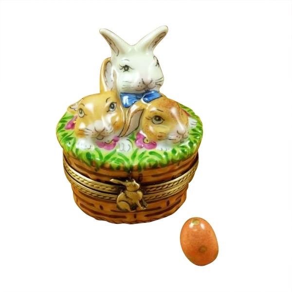 3 rabbits in a basket with removable egg
