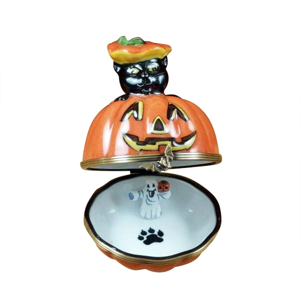 Black cat on jack o lantern with removable ghost