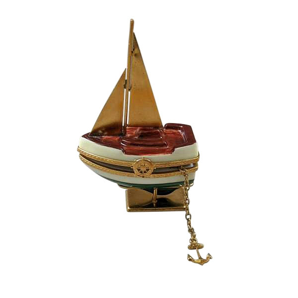 Sailboat w/ Brass Sails, Stand and Anchor