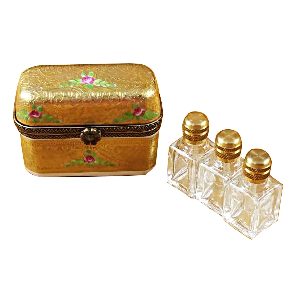GOLD FLOWERY W/3 BOTTLES