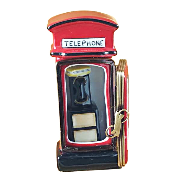 BRITISH PHONE BOOTH W/REMOVABLE TELEPHONE