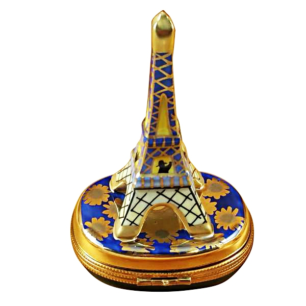 Eiffel tower gold on blue base