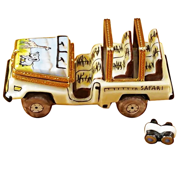 Safari vehicle with binoculars