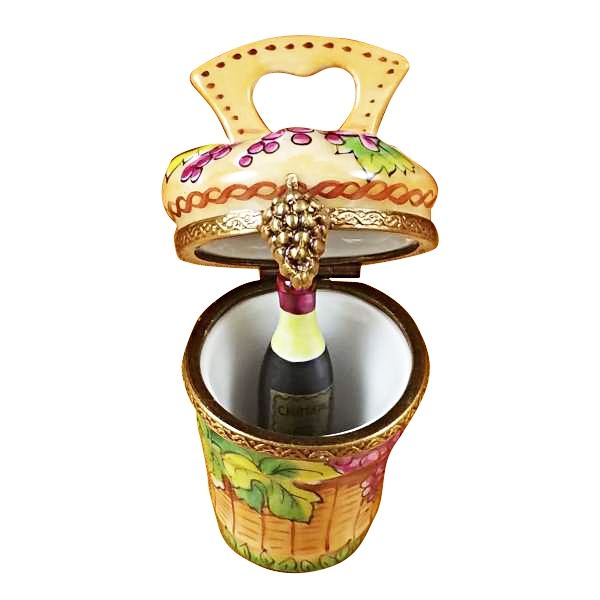 Grape harvest basket w/wine bottle