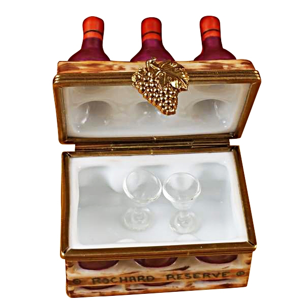 WINE BOTTLES IN CRATE WITH TWO GLASSES